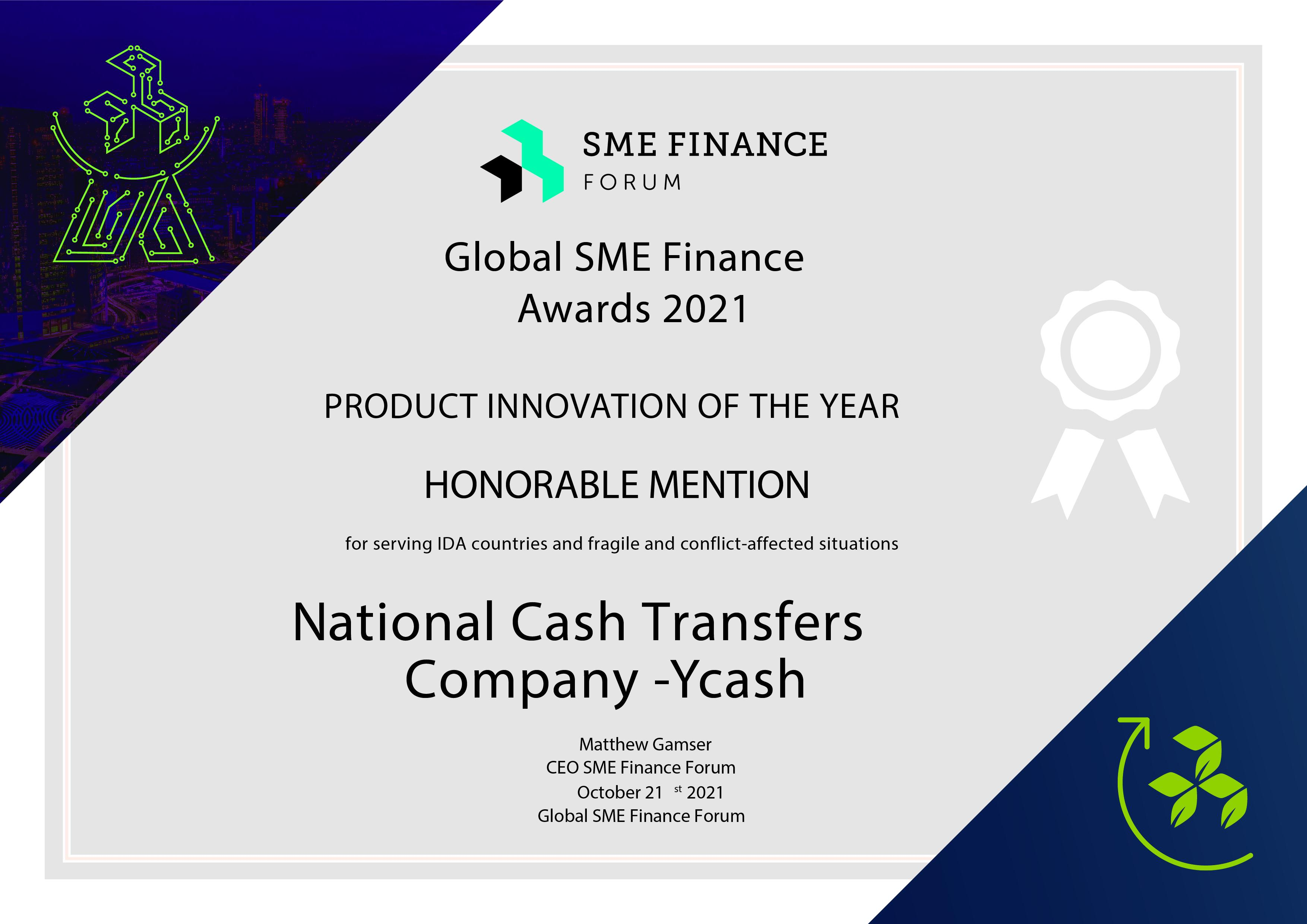 YCASH Receives SPECIAL RECOGNITION from SME Finance Award Program